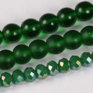 MS-GBM2-10 Multi-string: crystal puffy rondelles & Indian pressed glass beads - emerald