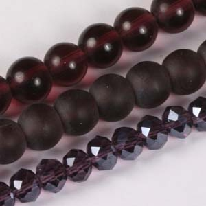 MS-GBM2-13 Multi-string: crystal puffy rondelles & Indian pressed glass beads - amethyst