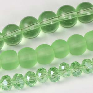 MS-GBM2-14 Multi-string: crystal puffy rondelles & Indian pressed glass beads - peridot