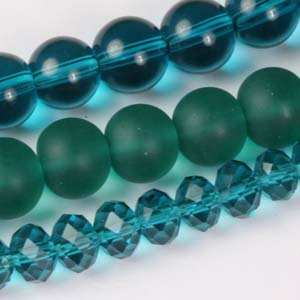 MS-GBM2-4 Multi-string: crystal puffy rondelles & Indian pressed glass beads - dark aqua