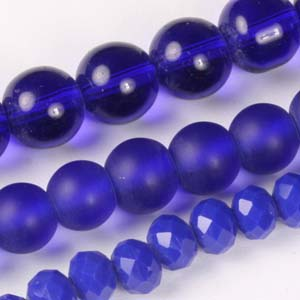 MS-GBM2-7 Multi-string: crystal puffy rondelles & Indian pressed glass beads - royal blue