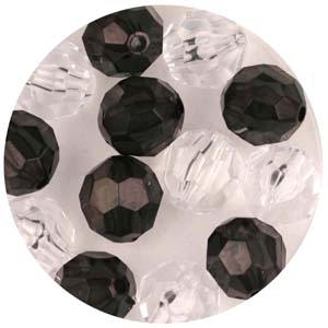 PB1 T Mix faceted round beads - transparent mix