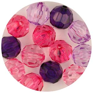 PB2 T Mix faceted round - transparent mix