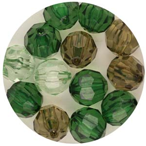 PB32 T Mix faceted round beads - transparent mix