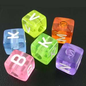 PB606 acrylic alphabet beads, cubes - mixed colours