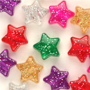 PB64 SP star pony beads - sparkle single colours