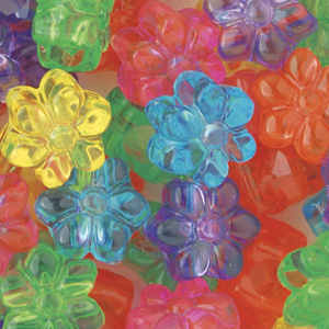 PB67 P-M11 flower pony beads - jelly mixed colours