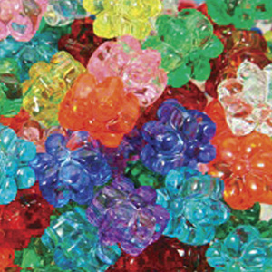 PB67 T-M2  flower pony beads - transparent mixed colours
