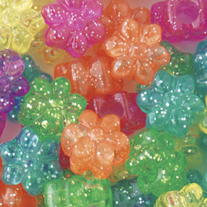 PB67 SP-M10 flower pony beads - jelly sparkle mixed colours