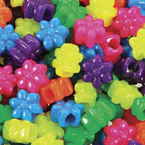 PB67 N-M4 flower pony beads - neon mixed colours