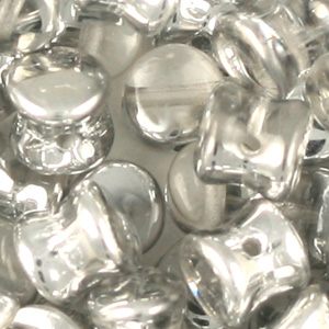 SBPLT-41 Czech pellet pressed beads - crystal labrador half coated