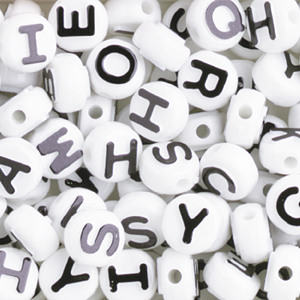 PBA-6S Alphabet beads - white/black
