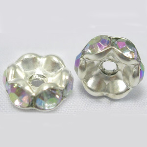 RBSW8-2 diamante rondelles, wavy edges - crystal AB