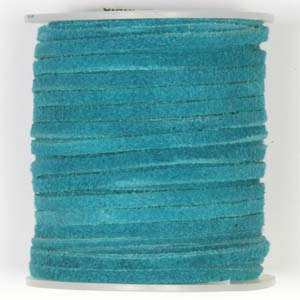 S136 Turquoise flat leather cord - turquoise