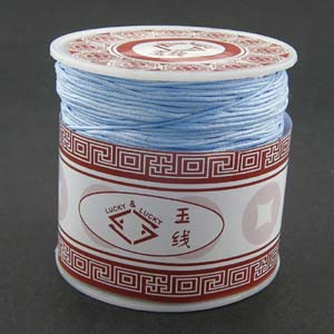 S203 lt blue Nylon bead cord - light blue