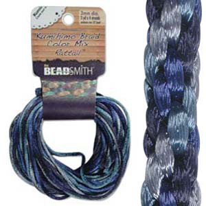 S214-M2 Kumihimo braid: rattail blue mix (4x3 yards)