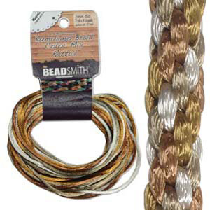 S214-M6 Kumihimo braid: rattail warm neutrals mix (4x3 yards)