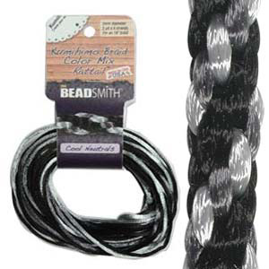 S214-M7 Kumihimo braid: rattail cool neutrals mix (4x3 yards)