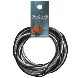 S215-M3 Rattail Satin Cord - black/grey/silver mix