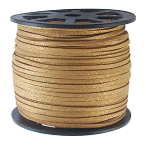 S251 gold met faux suede cord - antique gold metallic