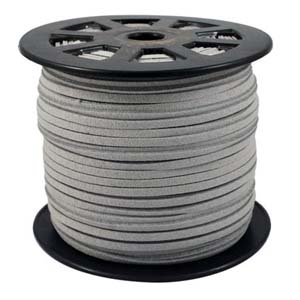 S251 silv grey faux suede cord - silver grey