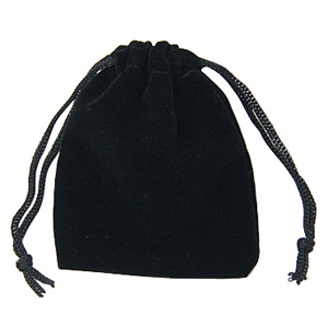 S257 black velvet jewellery bag
