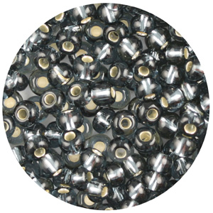 SB10-130 Czech size 10 seed beads, silver lined - black diamond