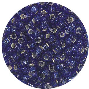 SB10-14 Czech size 10 seed beads, silver lined - royal blue