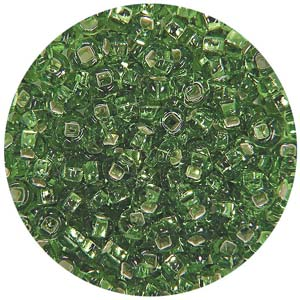 SB10-15 Czech size 10 seed beads, silver lined - light green