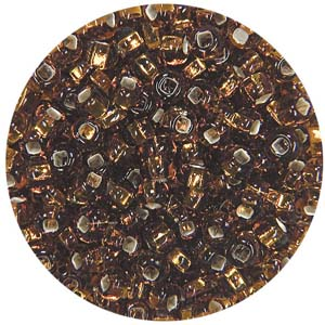 SB10-4 Czech size 10 seed beads, silver lined - light brown