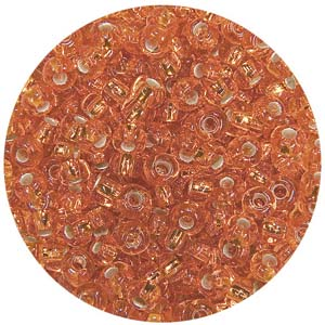 SB10-6 Czech size 10 seed beads, silver lined - orange