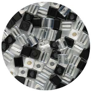 SB4-M2 Miyuki square beads - black/silver mix