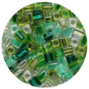 SB4-M4 Miyuki square beads - greens mix