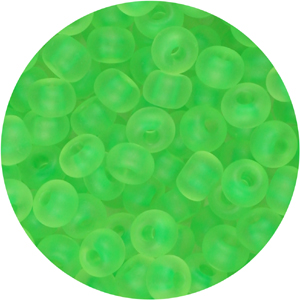 SB8-121 Czech size 8 seed beads, matt transparent - neon green
