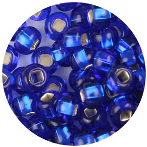SB6-14 Czech size 6 seed beads silver lined - royal blue