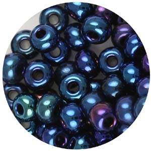 SB6-24 Czech size 6 seed beads, metallic - blue iris