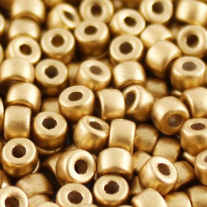 SBP8-111 Matubo Czech size 8 seed beads - crystal gold matt metallic