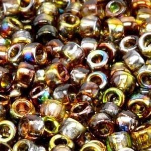 SBP8-227 Matubo Czech size 8 seed beads - magic yellow brown
