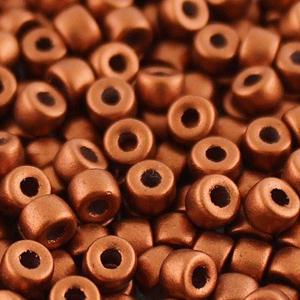 SBP8-241 Matubo Czech size 8 seed beads - crystal bronze fire red metallic