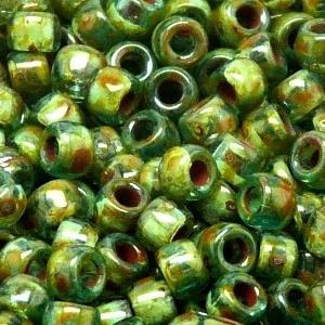 SBP8-460 Matubo Czech size 8 seed beads - aquamarine travertin