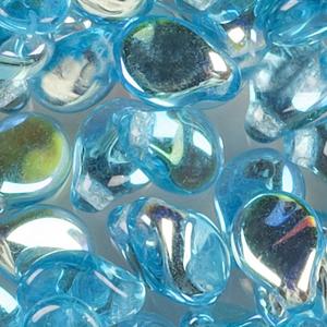 SBPIP-170AB Czech pip pressed beads - transparent dark aqua AB