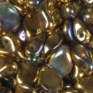 SBPIP-207 Czech pip pressed beads - crystal golden iris