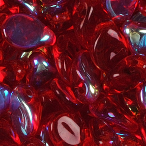 SBPIP-25AB Czech pip pressed beads - transparent red AB
