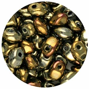 SBSP-23 Czech solo pressed beads- bronze iris
