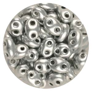 SBT-110 Czech twin seed beads - silver metallic
