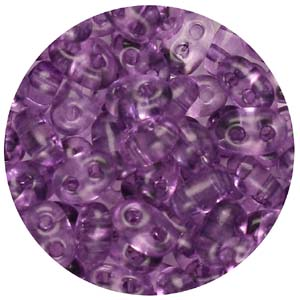 SBT-145T Czech twin seed beads, crystal solgel dyed - amethyst
