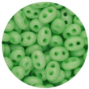 SBT-147S Czech twin seed beads, chalk solgel dyed - light green