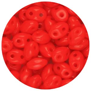 SBTP-143 Czech twin pressed beads, opaque - red