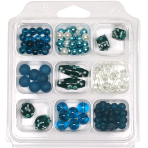 SBX-GB-FL1 Glass bead selection box with flower lamp beads - turquoise green