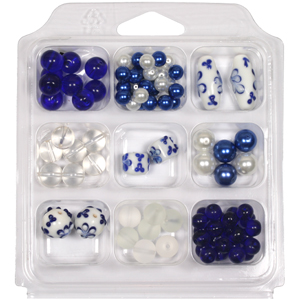 SBX-GB-FL2 Glass bead selection box with flower lamp beads - blue
